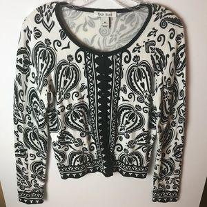 White House|Black Market Cream & Black Sweater